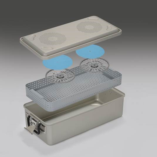 Rigid reusable sterilization container