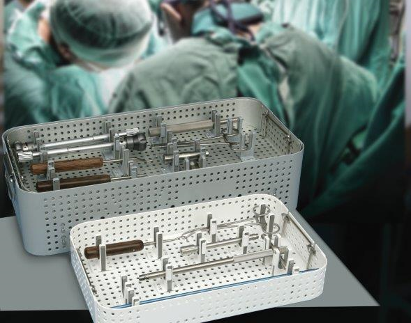 modular sterilization container filled with medical instruments